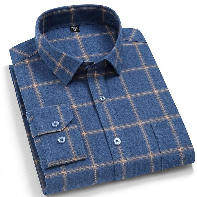 Clássico verificado xadrez puro algodão puro camisas casuais lixadas espessas negócio regular em forma de mangas compridas de mangas compridas 210310
