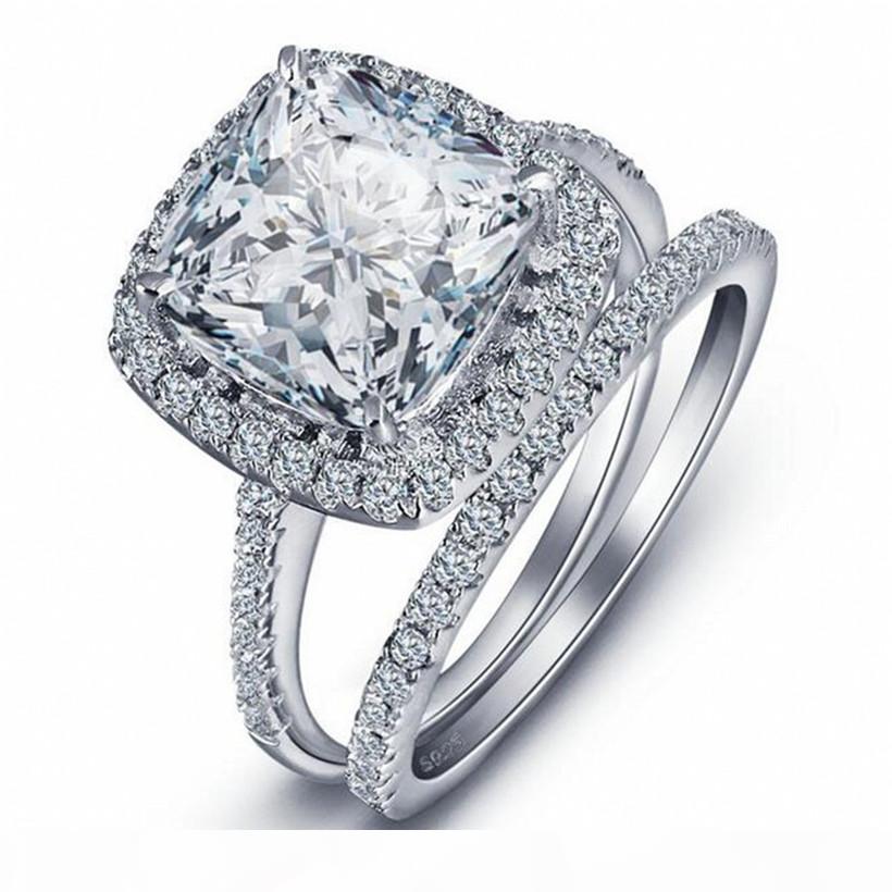 Joyas de diamante de lujo 4ct Princess-Cut Blanco Topaz Anillos de piedras preciosas Set 2-en-1 925 Sterly Silver Compromiso Anillo de banda de boda para mujeres
