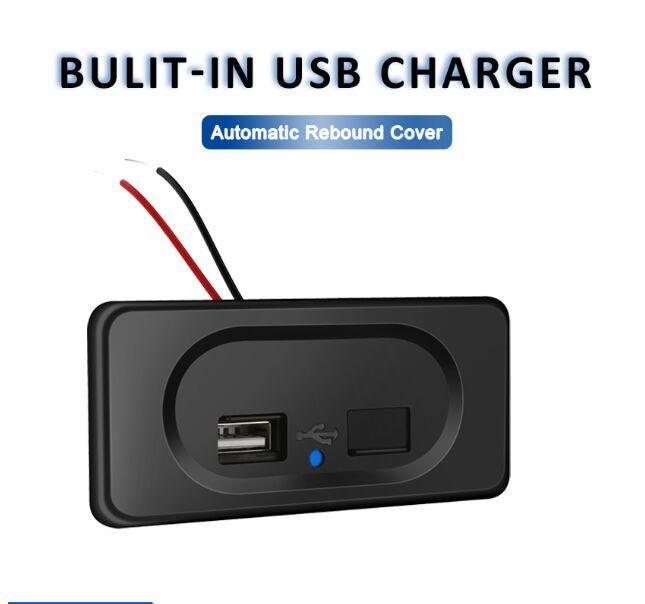 Caricabatterie da auto da 12/24 V 5 V / 4.8A USB con coperchio automatico di rimbalzo e vite nascosta