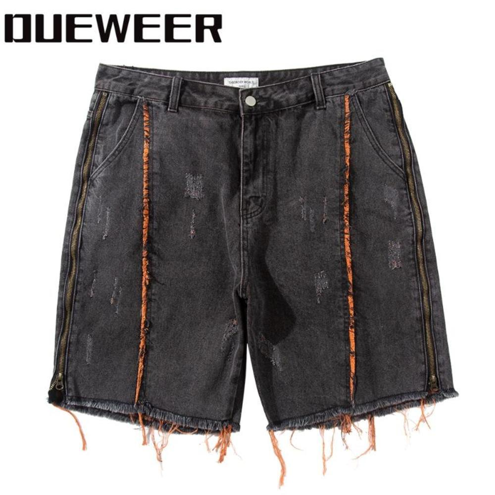 Имсторонняя сторона zip джинсовые шорты мужская уличная одежда цветной блок панк джинсы шорты хип-хоп мужчина разорвал короткие свободные