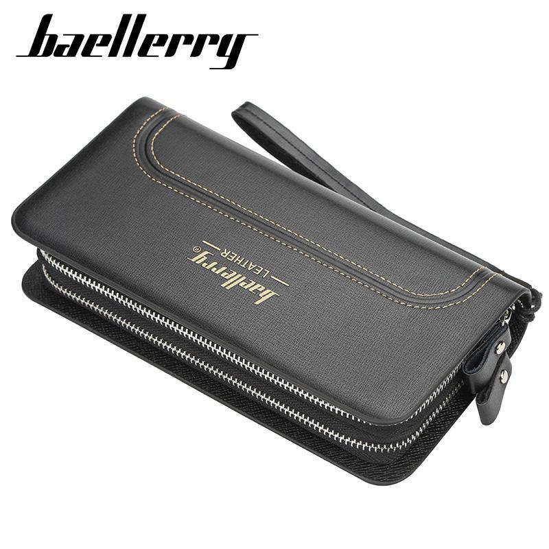 Vente en gros Mode Portefeuille pour hommes Noir Longue Pu en cuir Pochettes Porte-monnaie Portefeuille de poche haute capacité