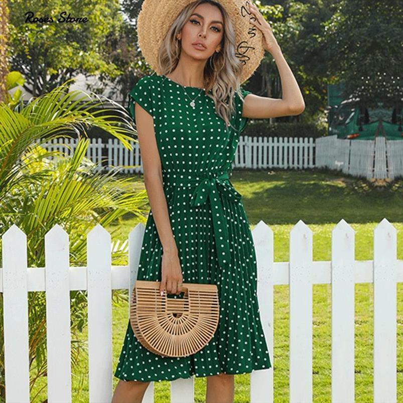 Été Polka pois manches manches robes pour femmes plissées taille haute midi élégant bureau green dame dîner vêtements vêtements