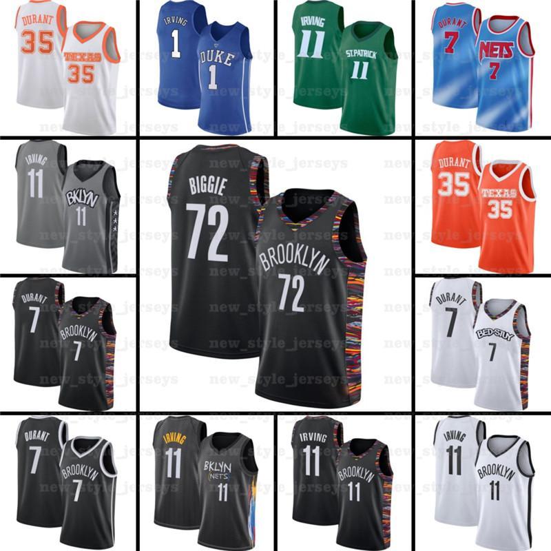 7 Kevin 11 Kyrie 34 Giannis Irving Antetokounmpo Durant 13 Harden BrooklynRedesZ17 NCAA Costura de camisetas de baloncesto