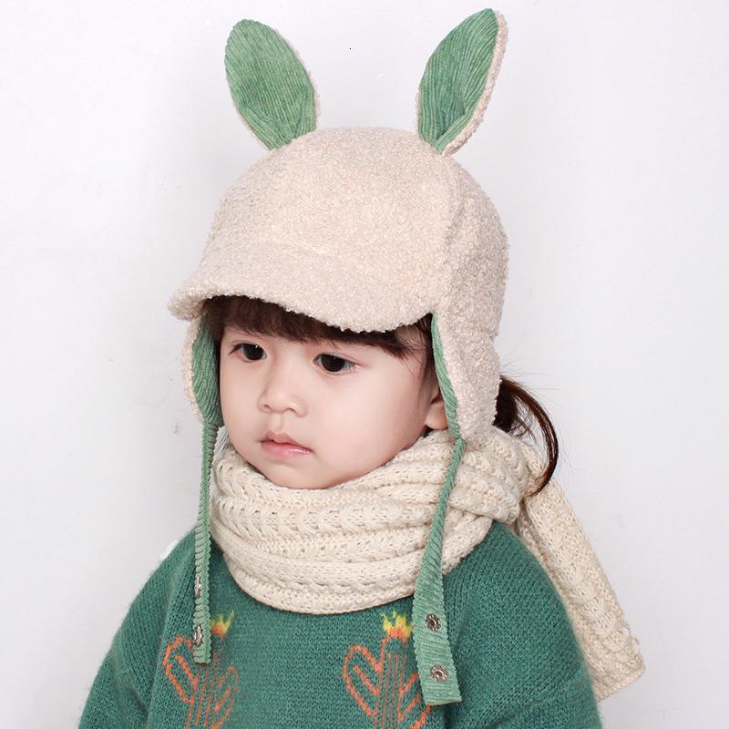 Chapéu de bebê Outono e inverno proteção crianças cordeiro cashmere lei feng bebê quente coelho orelha