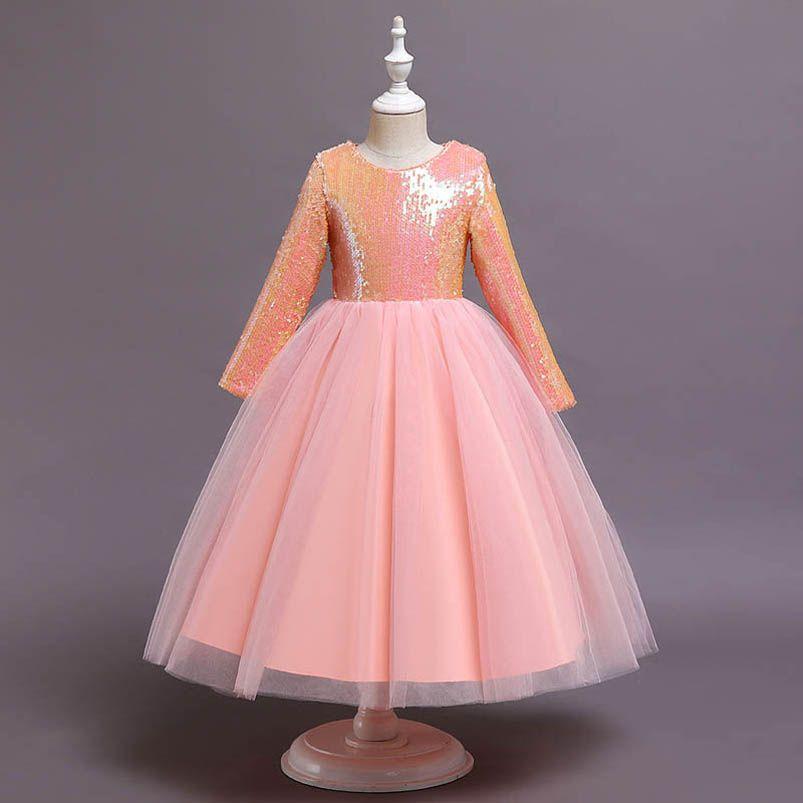 Long Girls Dresses Childrens Dresses Lace Sequin Long Sleeve Princess Formal Dresses Pettiskirt Party Kids Clothes 5-12Y B4036