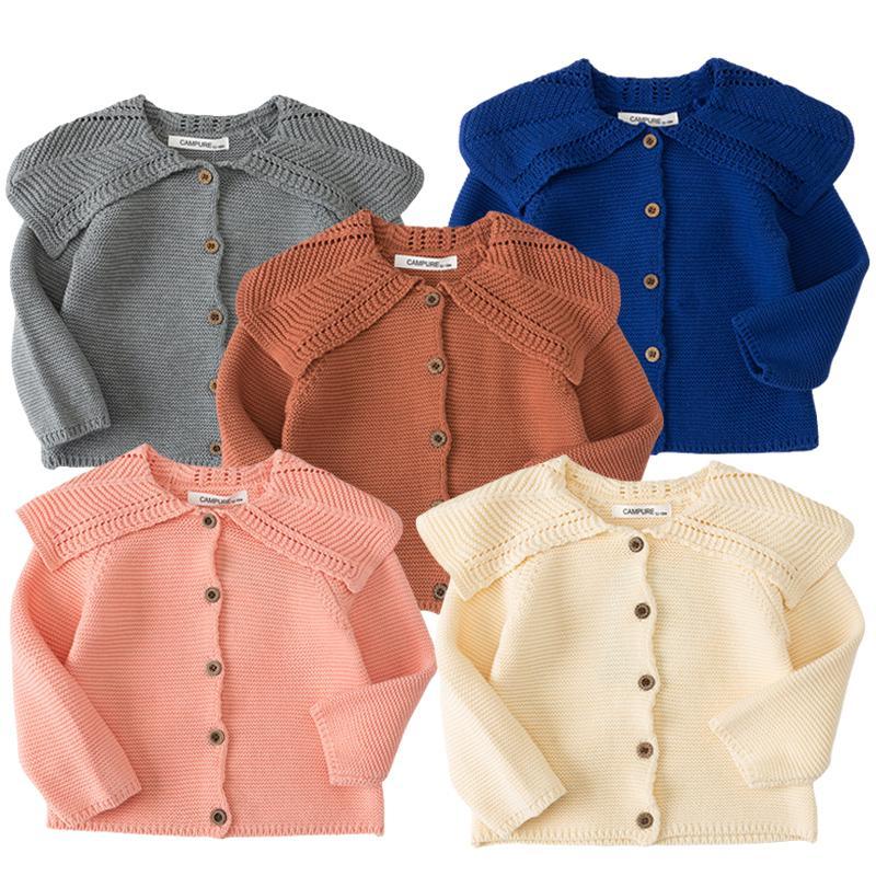 Niños bebé recién nacido Cardigan abrigo otoño invierno niña tejer chicas suéteres algodón bebé niños chaqueta suéteres Ropa para niños 210202