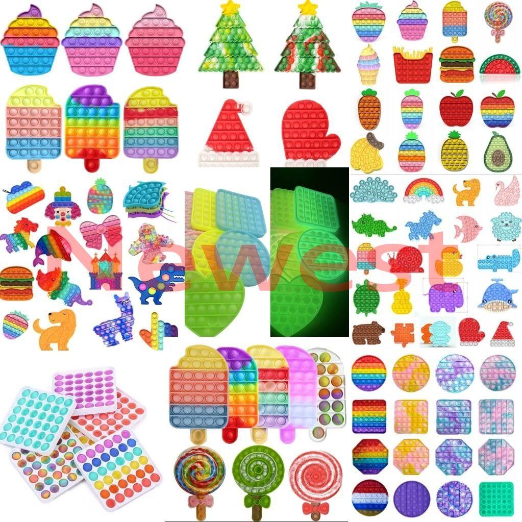 2021 Tiktok Последнее флуоресценция Push Bubble Sensosory Fidget Toy Party Party Party Party Autism Специальное нуждается в стресс Reverever для семейства детей
