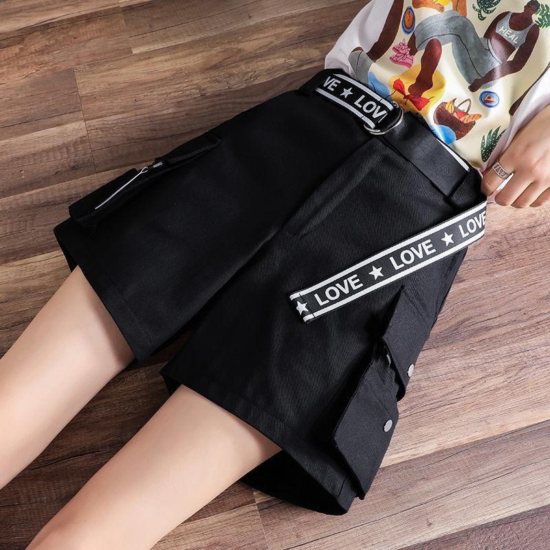 여성 반바지 2021 힙합 패션 여름 짧은 여성 학생 한국어로 느슨한 캐주얼 스포츠 포켓을위한화물 바지