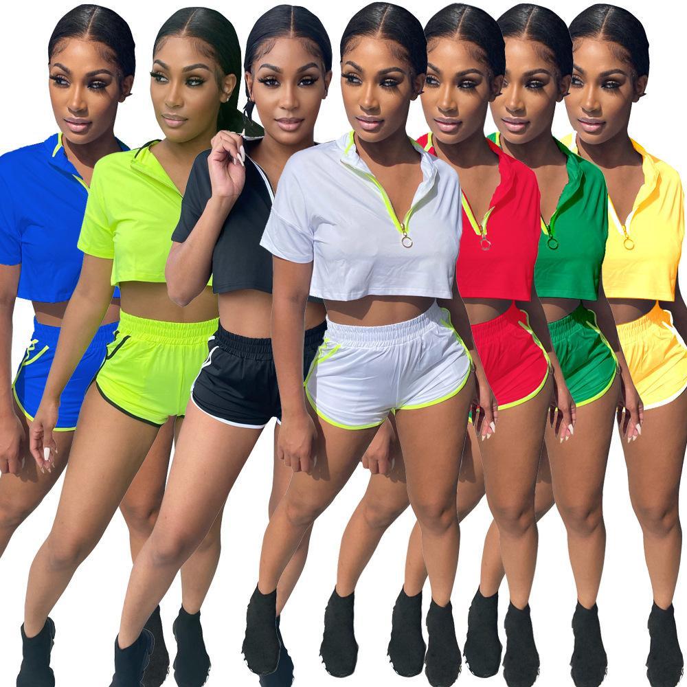 Дизайнер 2021 Летние Женщины Спорт Спортивные трексуты Двухструктурные Полосатые Цвет Сопоставляющие Yoga Шорты Sportswear Для Женских Наборов S-4XL