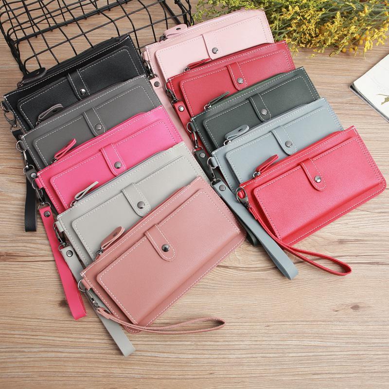 Avrupa ve Amerikan kadın cüzdan uzun moda tabanca renk Gizli toka cüzdan büyük kapasiteli çok fonksiyonlu çanta