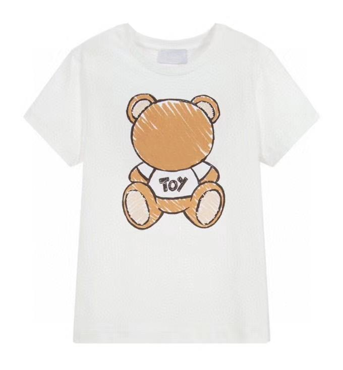 Kids Tshirts Boys Top Girls Tees 2021 Hot Sale Short Sleeve Tees Children Breathable Letter Printed with Bear Pattern T-shirts Pullover