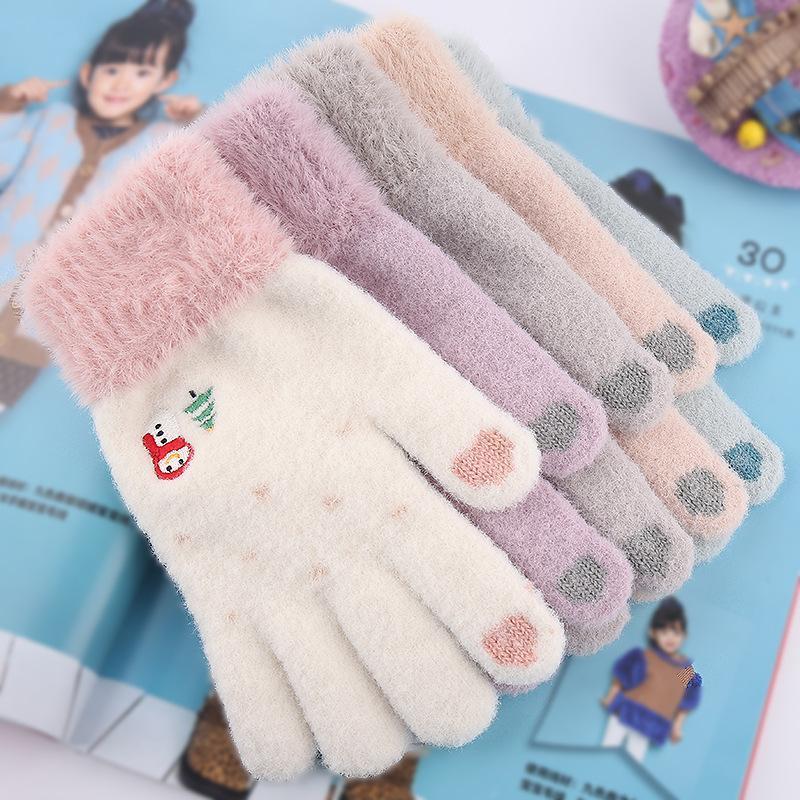 Cinco dedos Guantes para mujer Cashmere de Punto Invierno Adulto Cálido Cálido Pantalla táctil gruesa de dedo completo Guante de esquí de esquí bordado Muñeco de nieve GIF de Navidad