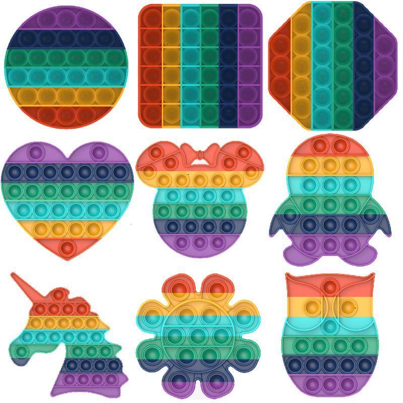 DHL Rainbow Push Pop Other Hidget Sensory Toy Toy Unicorn Autisims Специальное нуждается в тревожном напряжении для офисных работников флуоресценции
