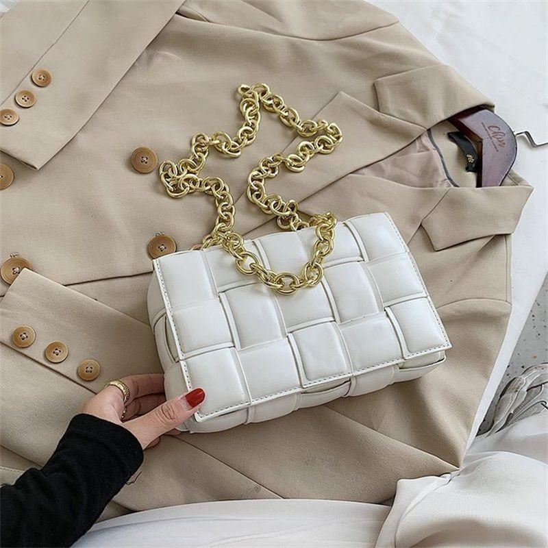 Kadın Crossbody Çanta Örgü Flap Çanta Kaliteli Deri Kalın Zincir Omuz Messenger Çanta Ve Çanta # 315
