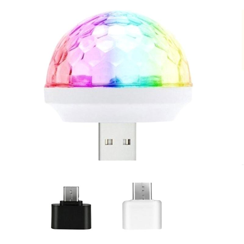 Mini escenario Luz LED Efectos Disco Elfin Control de voz autopropulsada Cristal Magic Ball USB Música colorida Bombilla