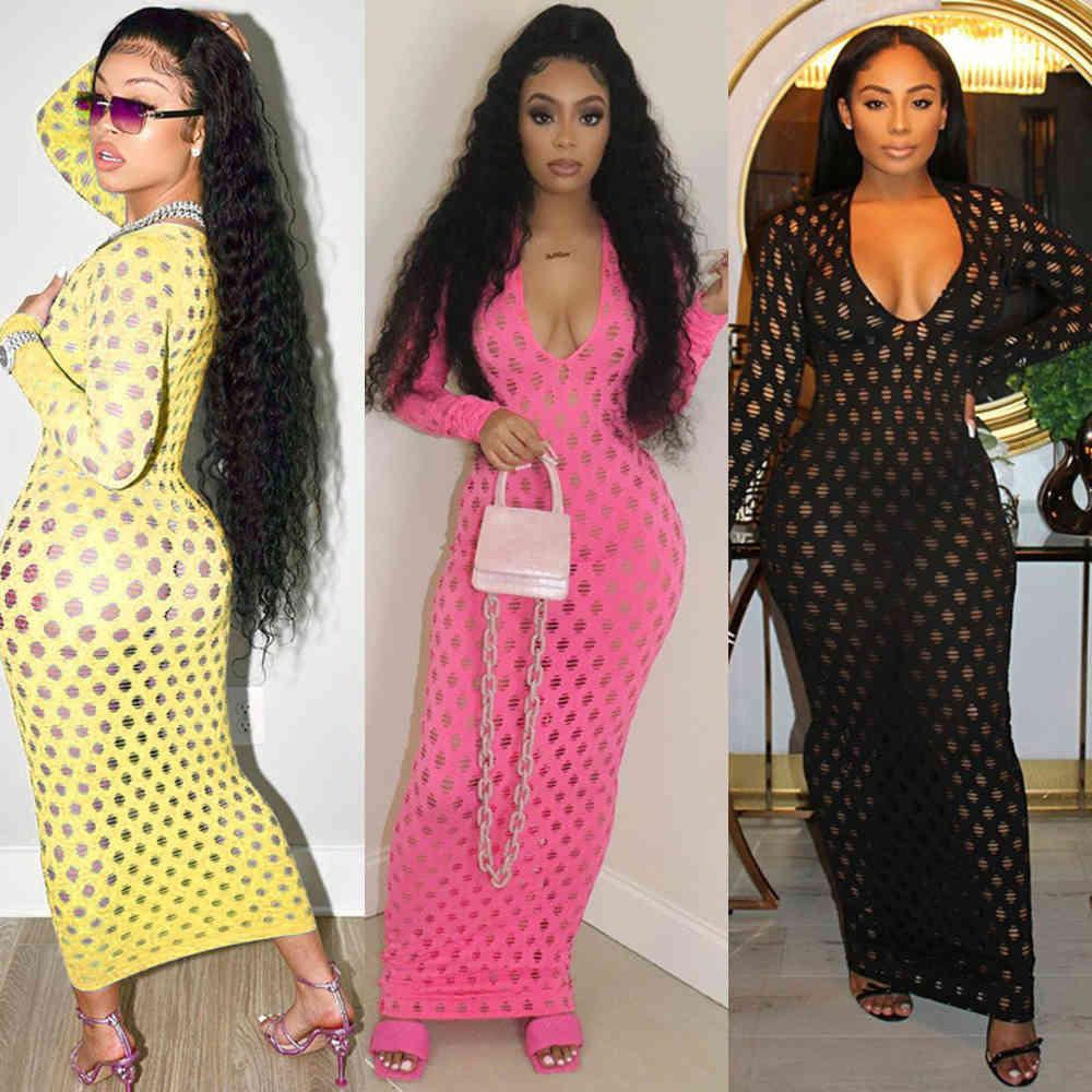 Gebratene Strandkleid Frau Sexy Ausschnitt Low Cut V-Ausschnitt Bodycon Long Mouwen Maxi Jurk Damen Sommer Chic Feiertag Outfits A0618