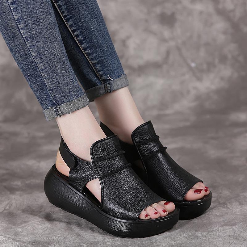 Oukahui лето толщиной нижняя высокая плоская платформа сандалии для женщин подлинной коровьей кожи моды клинья Peep Toe женщин сандалии 210301