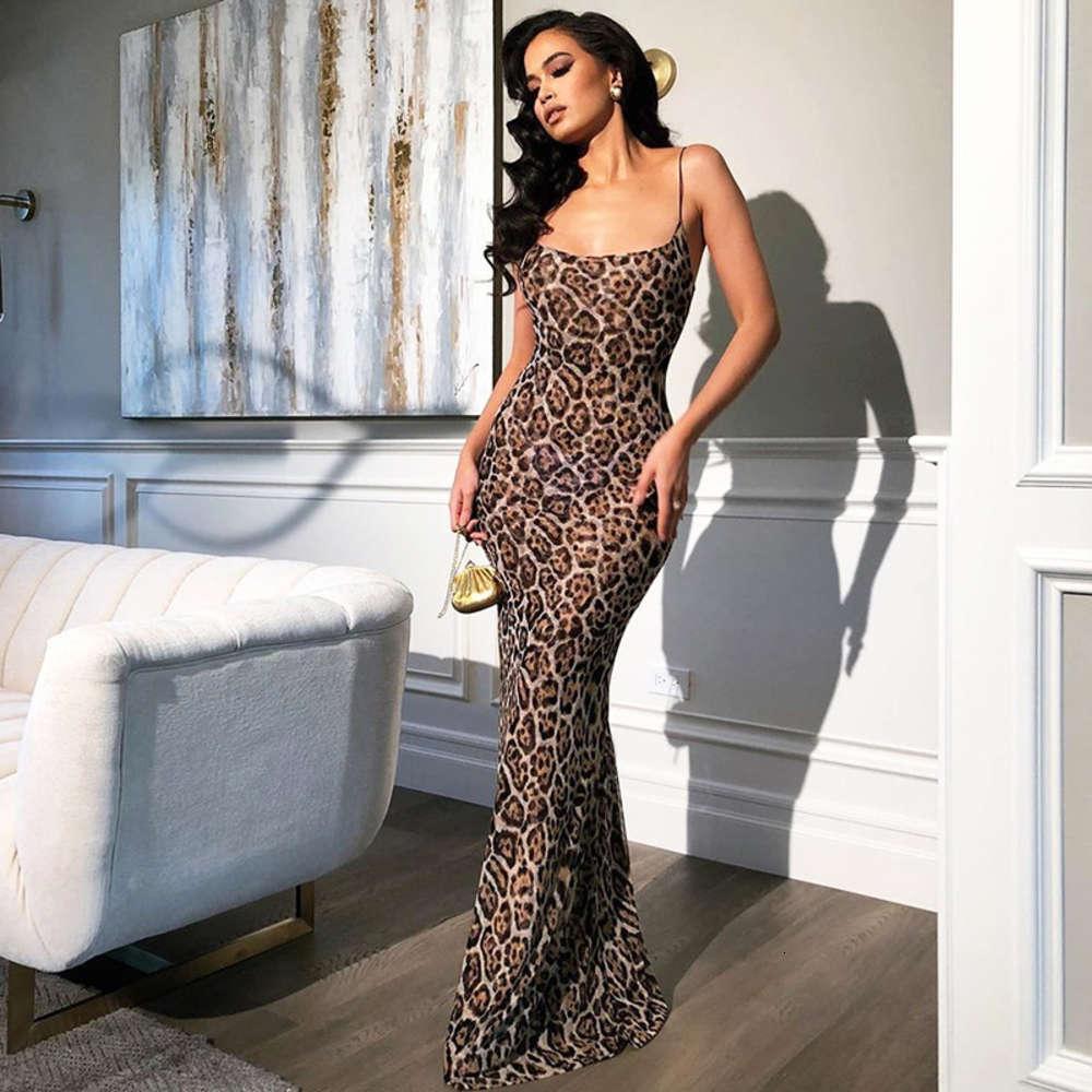 Vestido de falda de playa Leopardo de verano de nueva mujer
