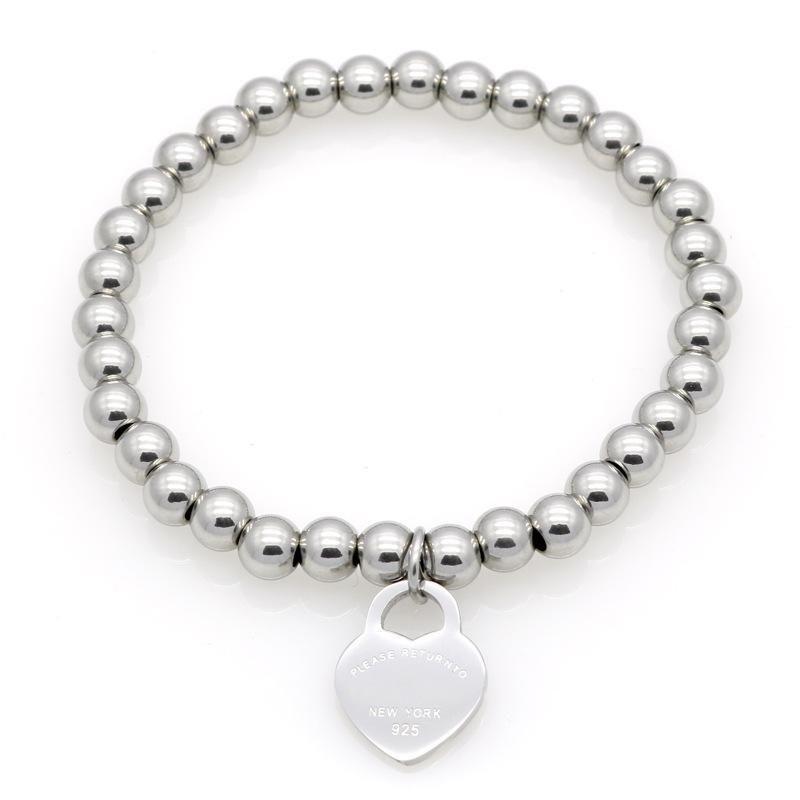2021 New Women Copper beaded bracelet Stainless PLEASE RETURN TO Heart charms T letter Pulsera Bracelet 1pcs drop shipping