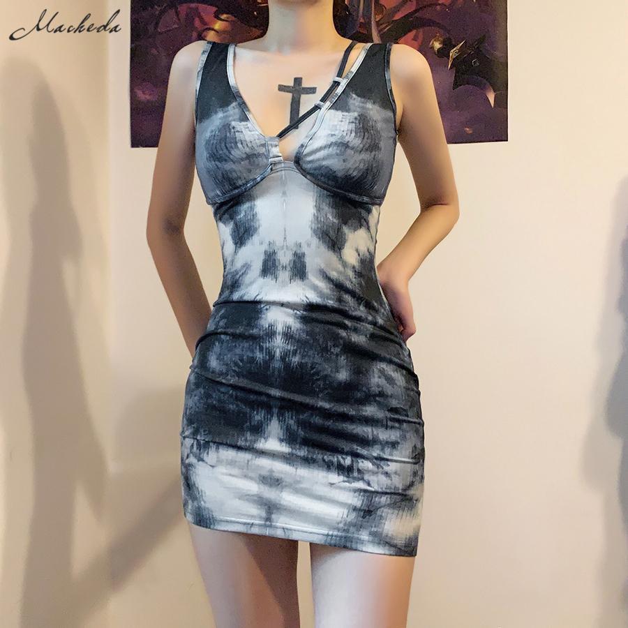 Macheda Sexy Deep V Sling Robe moulante Femmes Fashion Impression Sans manches Vêtements de tricot Street Casual Mini Robes 2020 Nouveau C0325