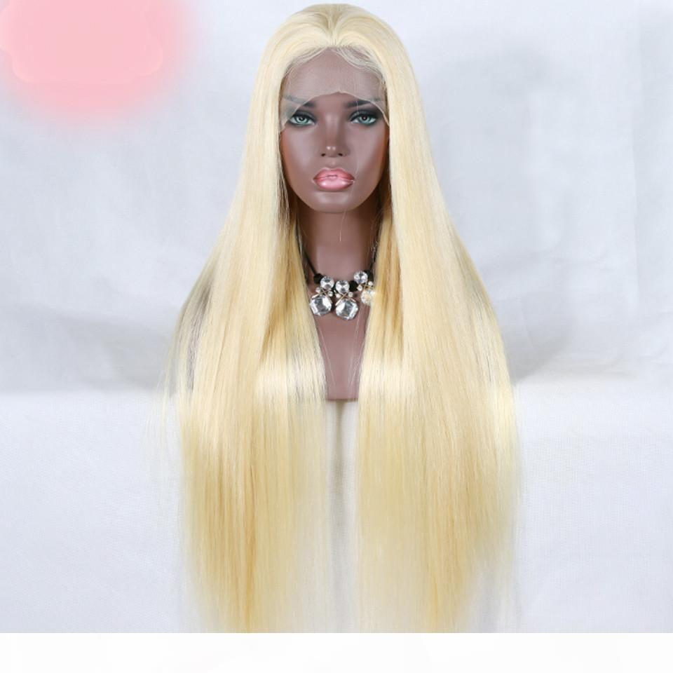 Pelucas del cabello humano del frente del cordón 613 pelucas de encaje recto brasileño rubia Pelucked 613 Pelucas de cabello humano Peluca natural Remy Remy