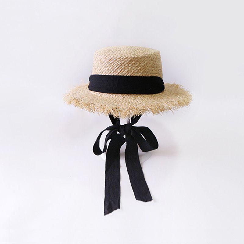 2019 Nuevo verano Hecho a mano Panamá Sombreros para las mujeres Ancho Gran Brim Brim Sun sombreros con la moda Long Cinta Visera Hat Raffia Straw Y0223