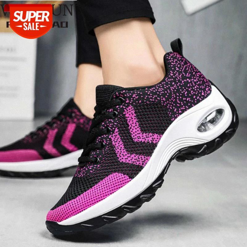 Kadınlar için takozlar ayakkabı Sarı Sneakers Comfort Bayanlar Eğitmenler Kadın Rahat Ayakkabılar Platformu Artı Boyutu Chaussures Femme # D220