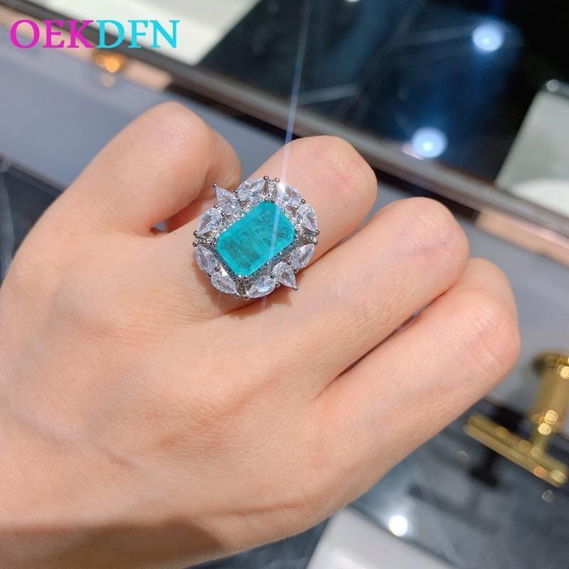 OekDFN 100% 925 anelli in argento sterling per le donne Paraiba Tourmaline Gemstone Gemstone Wedding Engagement Diamonds Anello regalo gioielli gioielli