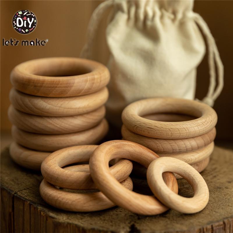 Vamos fazer 50 pcs anéis de madeira DIY personalizar 98/70/55 / 40mm superfície lisa Natural Maple Wood roedor bebê BPA grátis 210311