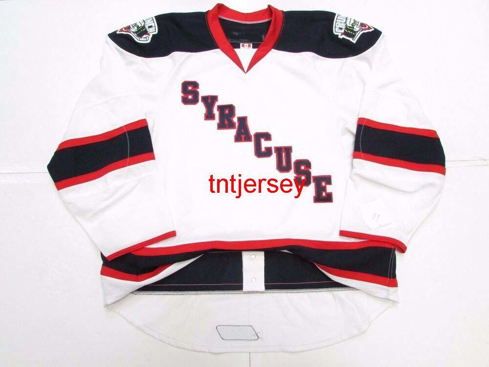 Dikişli Özel Syracuse Crunch AHL Beyaz Hokey Jersey Herhangi Bir Ad Sayı Ekle Erkek Çocuklar Jersey XS-5XL