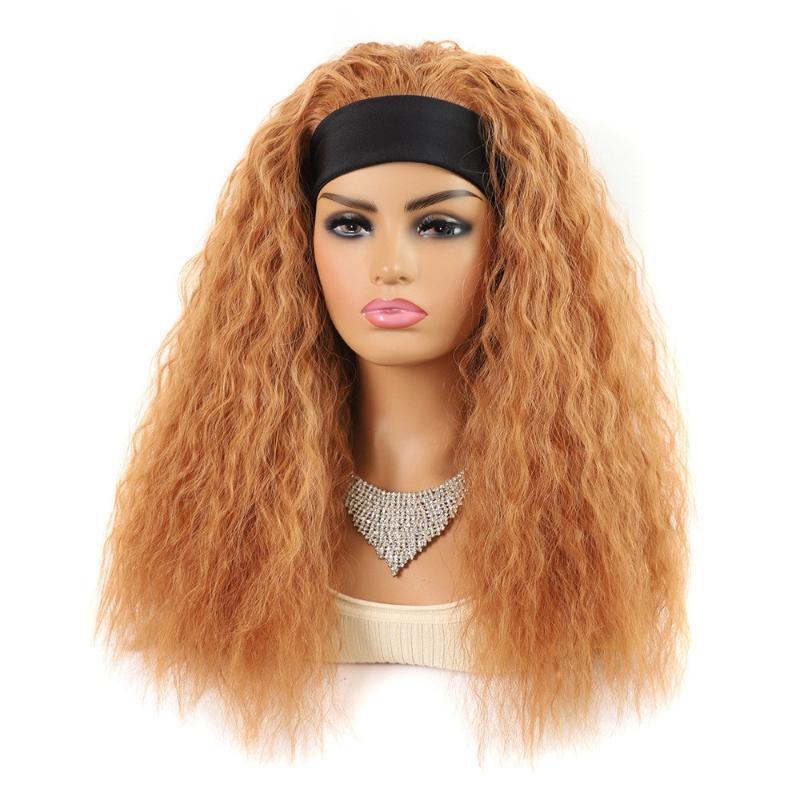 Sentetik Peruk Shangzi Kafa Peruk Su Dalga Brezilyalı Kıvırcık Saç Kadınlar için Doğal Kahverengi Dalgalı