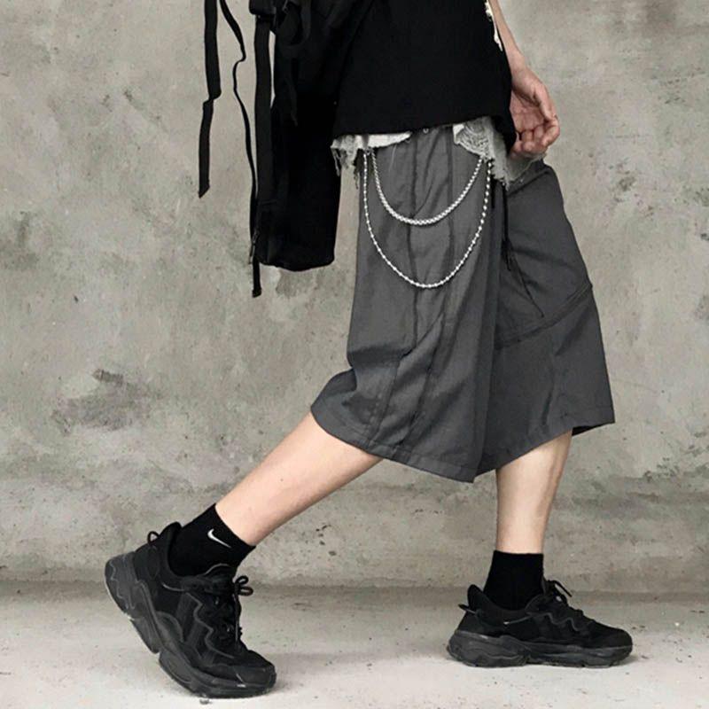 Alta cadeia de rua sólido terno sólido shorts homens e mulheres largo perna casual verão calças de cinco pontos