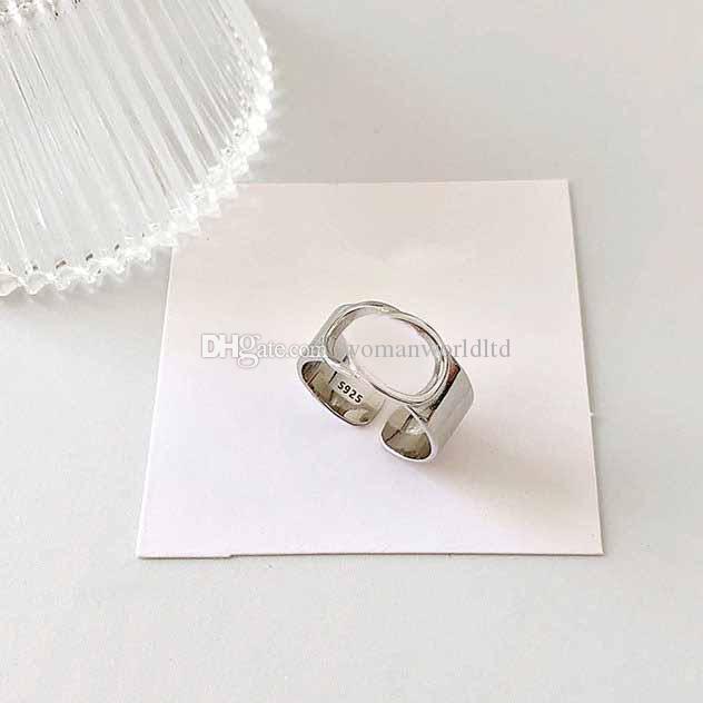 925 خاتم فضة جوفاء رسائل حلقة بسيط الأزياء والمجوهرات الهيب هوب فاسق حلقة حزب هدية عيد الحب