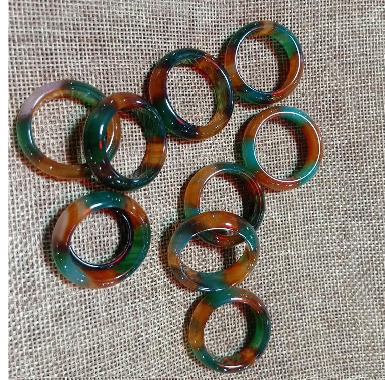 17-18 мм Натуральный Tri Color Chalcedony Кольцо Бесплатная доставка