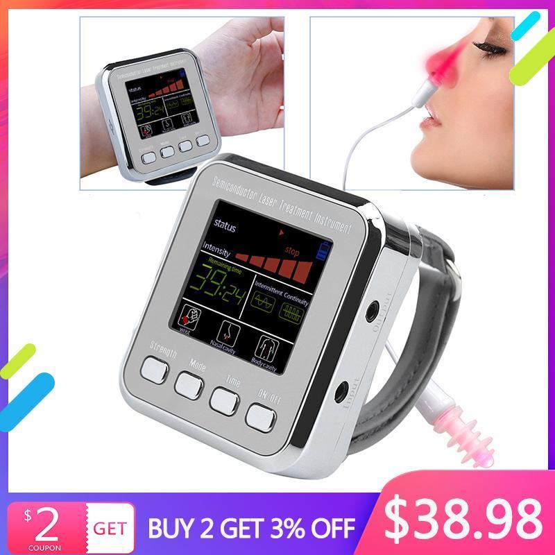 المدقق الكهربائية المنزلية 650nm العلاج الطبيعي الليزر المعصم ديود LLLT لسكري علاج ارتفاع ضغط الدم علاج السكري ووتش الجين العلاج