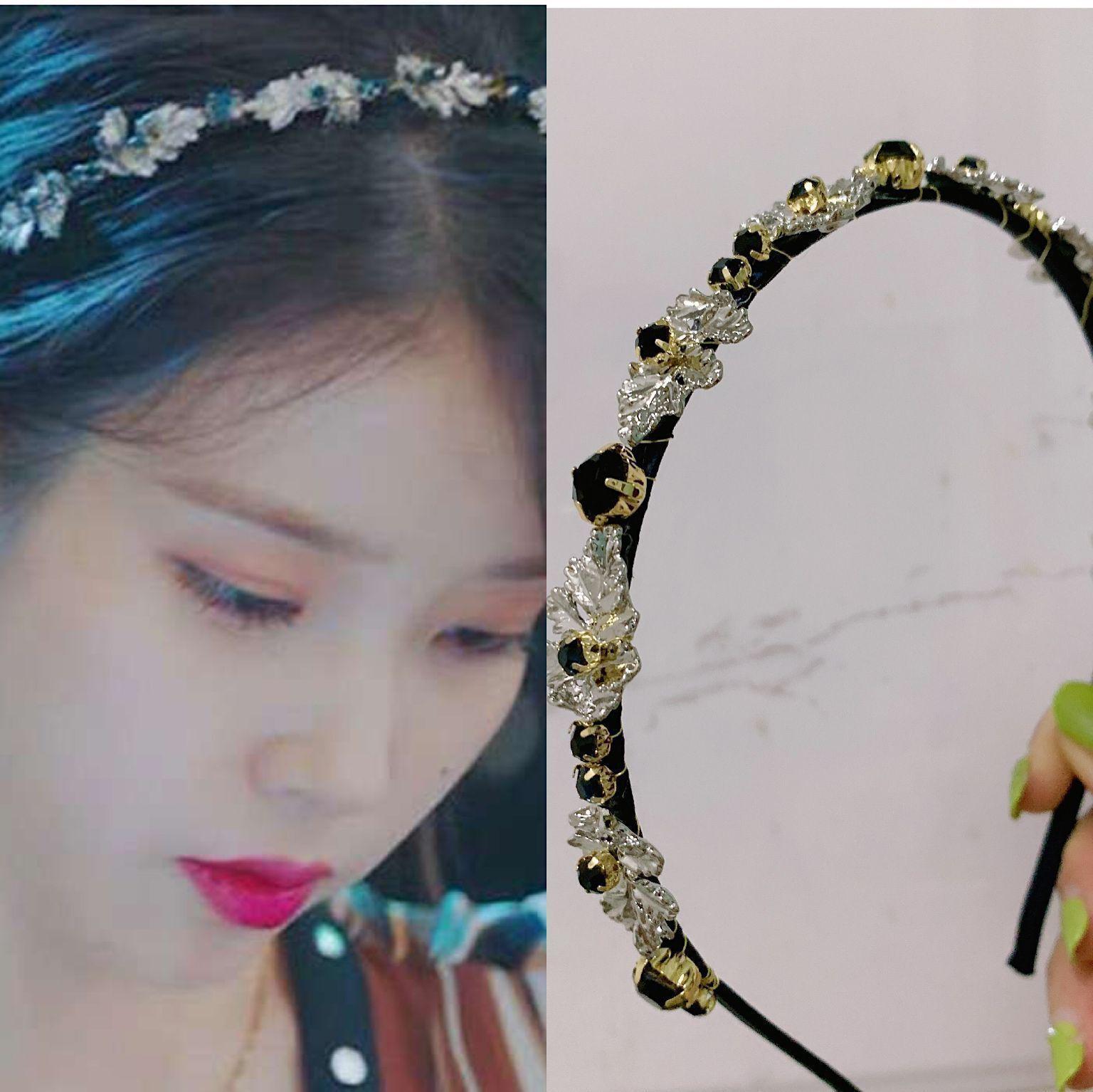 Deluna Hotel IU Aynı Hairband kadın 2021 Yeni Barok Veet Elmas Zarif Saç Aksesuarları Güney Kore'den