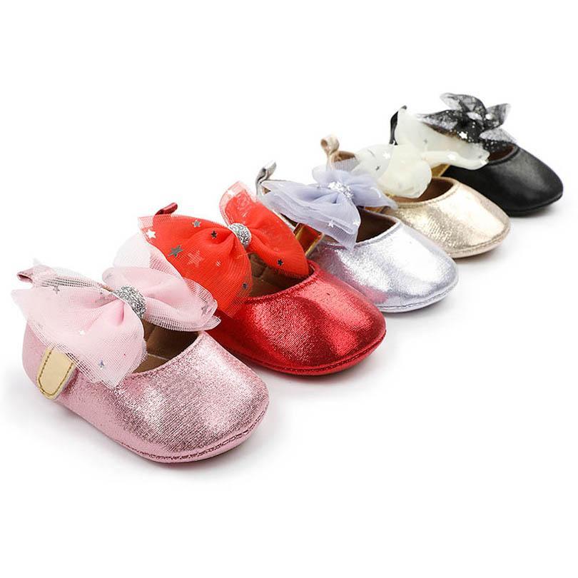طفلة أحذية الوليد أحذية طفل أحذية 0-1 طن الدانتيل bowknot الأميرة الرضع الأحذية الأخفاف لينة أول المشي الأحذية الطفل الأحذية B4081