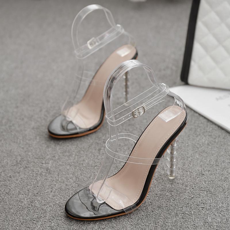 2021 Sommer Frauen 11,5 cm High Heels Strappy Stiletto Heels Sandalen Fetisch Klar Sanles Dame Sexy Party Stripper Schuhe