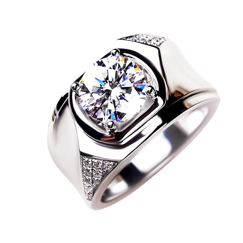 California Jewelry Moissanite Ring Mens 18K Platinum 1 2 Karat Ring Personality Elegant Business Wide Version Mans Ring