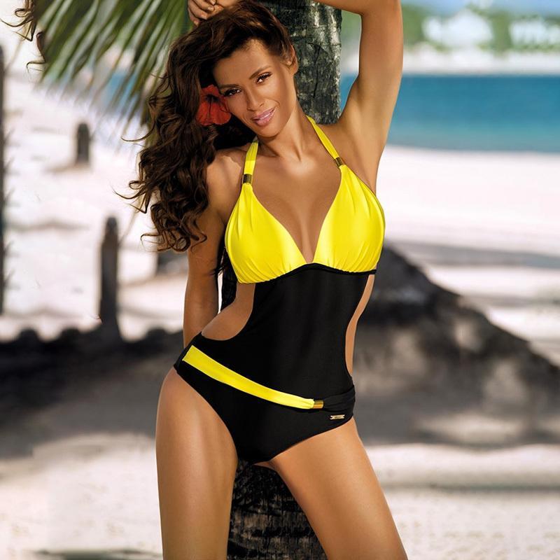 ملابس النساء زائد حجم قطعة واحدة المايوه رفع monokini الاستحمام البدلة المرأة عالية قطع السباحة البدلة الخامس الرقبة الرسن trikini 210312
