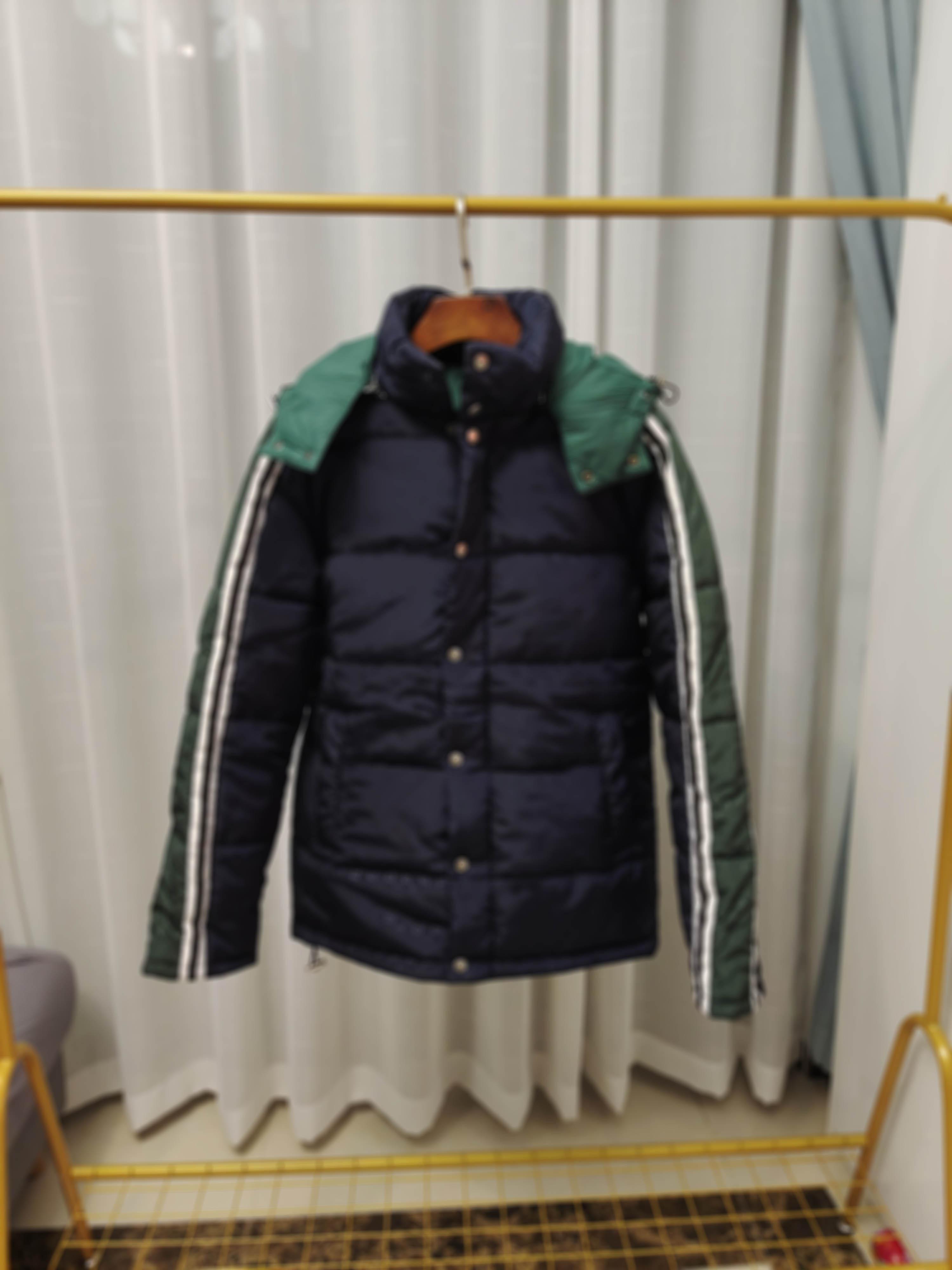 남자 디자이너 옷 재킷 파리 편지 녹색 줄무늬 면화 야구 캐주얼 망 겨울 코트 망 재킷 블루 중간 길이