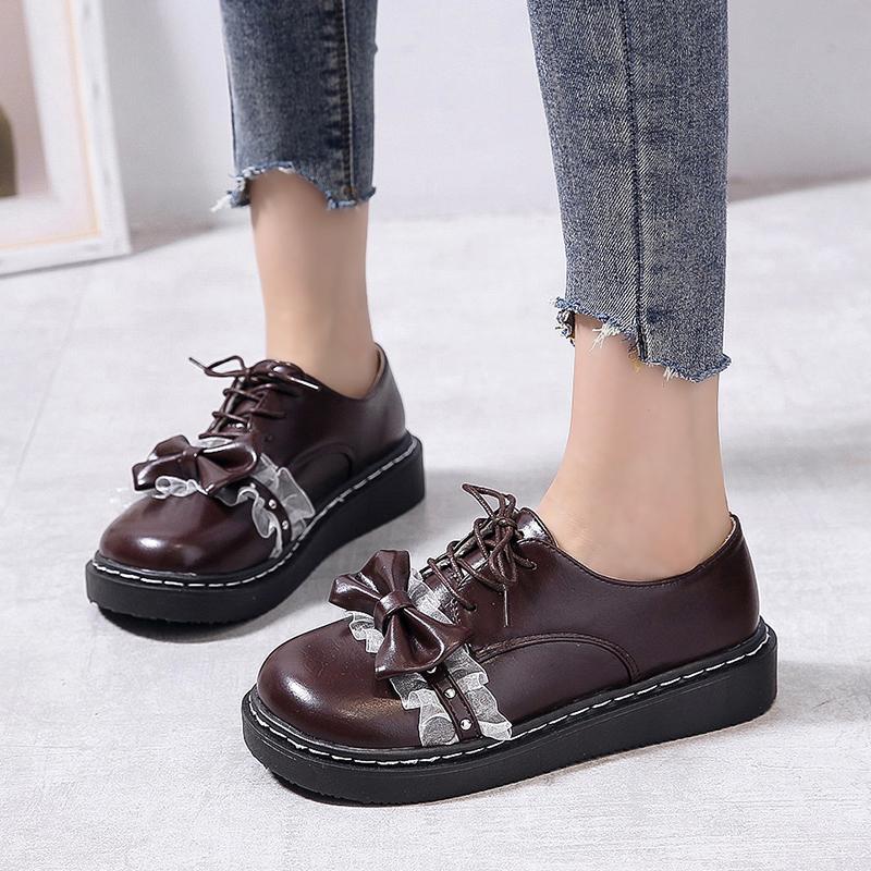 Lolita Ayakkabı Dantel Papyon Kadınlar Oxford Ayakkabı Lace Up Yuvarlak Ayak Rahat Ayakkabılar 2020 Bahar Sonbahar Retor Platformu Kızlar 8580n