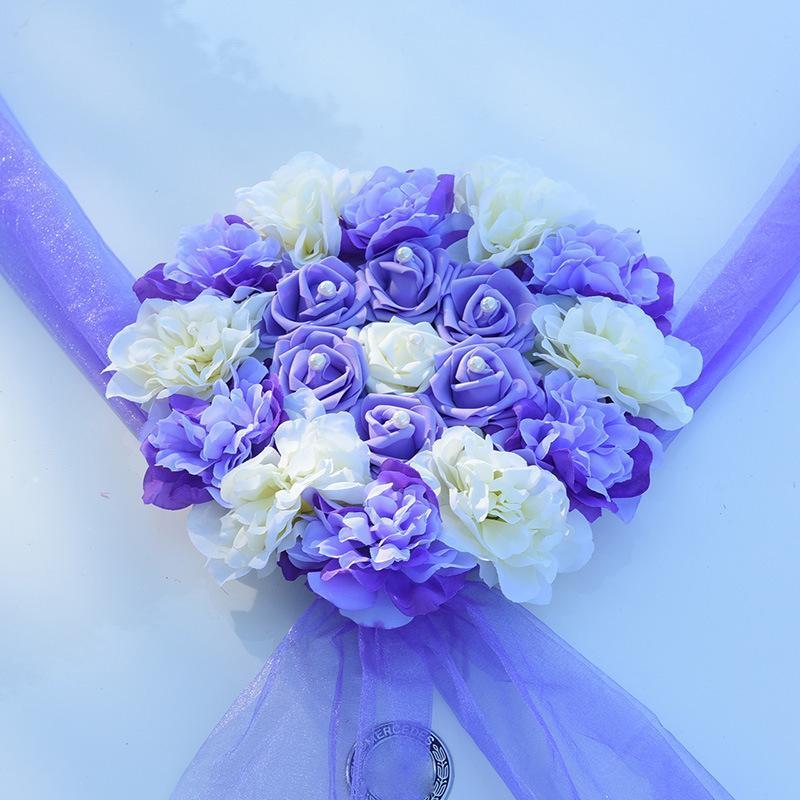 Künstliche Blumen Auto Dekoration Sets Hochzeit Pompons und Seide Blume Schaum Pearl Girlande Kranz Hochzeit DIY Zubehör