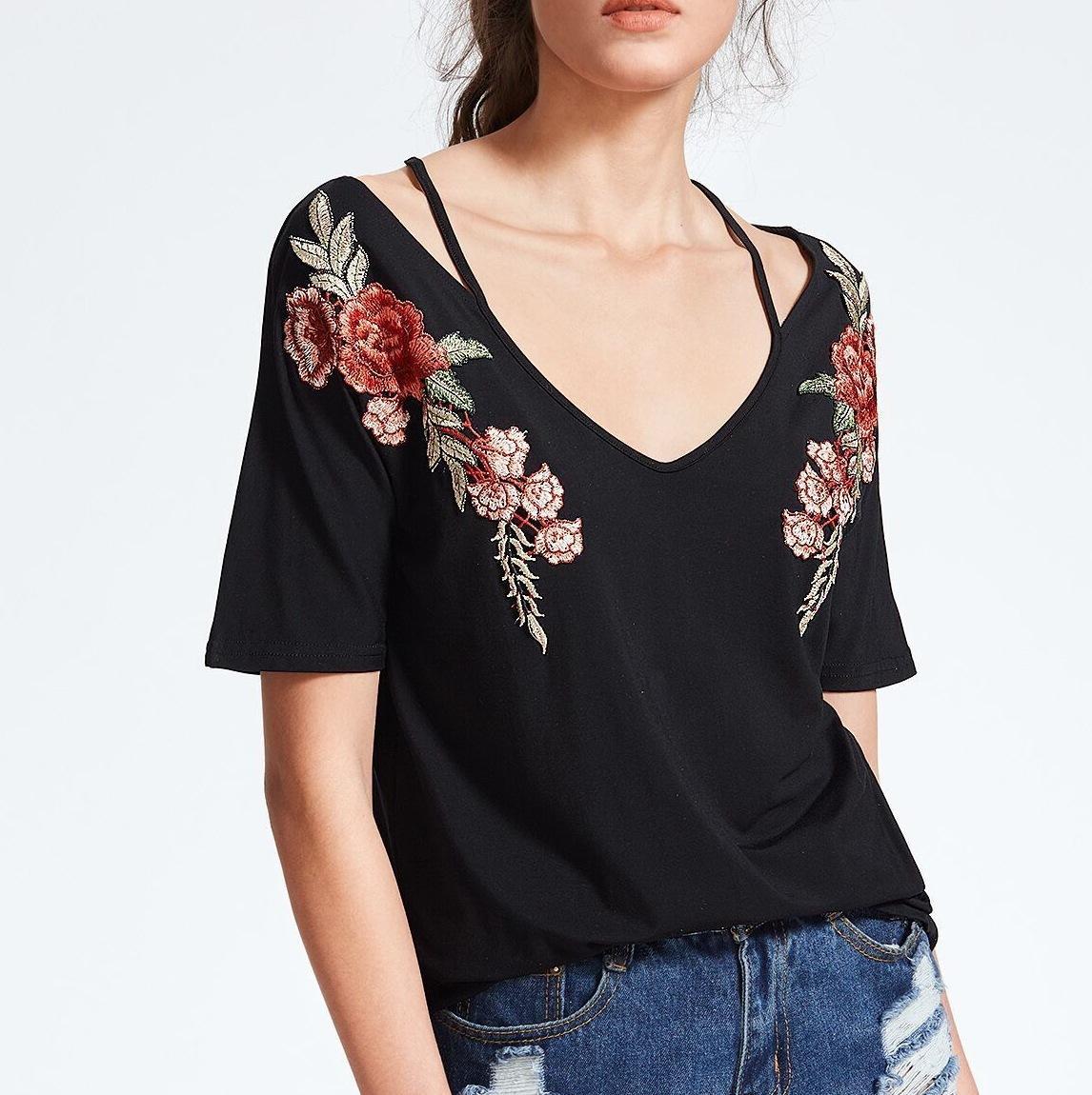 Весенняя и летняя новая женская вышивка аппликация свободная футболка подвески