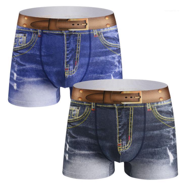 Respirant Demin Sous-robe Slim Moyenne taille Homme Boxers Mode Casual Plus Taille Sous-vêtements 2021 Nouveau Coton pour hommes