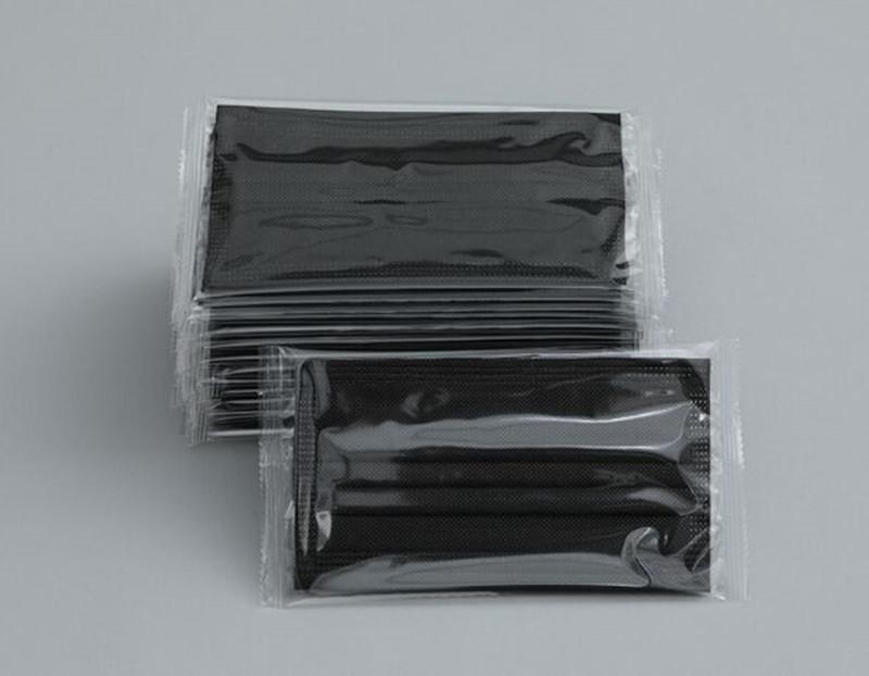 Pacote individual descartável máscara superior preto não qualidade tecida tecida máscara 3 camada à prova de poeira à prova de neblina respiração