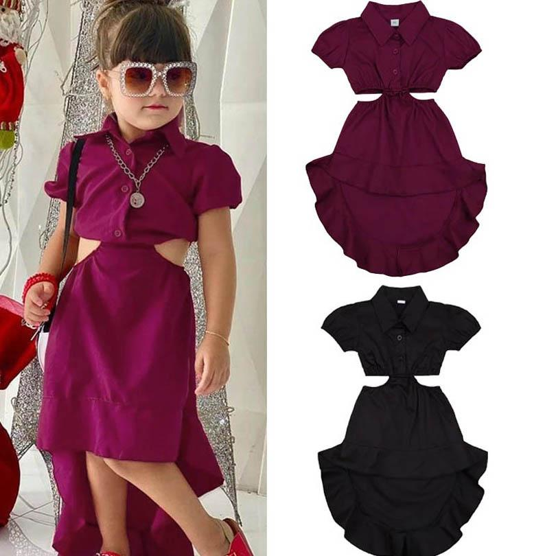 الفتيات فساتين الطفل اللباس الصيف أزياء طويلة شاطئ اللباس قصيرة الأكمام فساتين رسمية القطن الاطفال الملابس 1-5y B3859