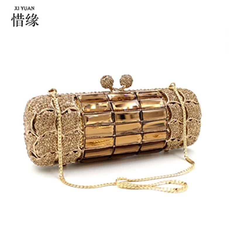 Xiyuan Brand Gold Diamond Свадебное платье Сумка сцепления Бримальные Хрустальные Сумки Кошельки Металлические Женские Мутчики Дизайнерские Вечерние Сумки 210316