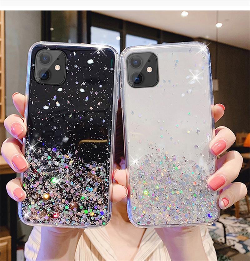 Epoxy Glitter Bling Transparent SPTT TPU TPU Casos para teléfono para iPhone 13 12 MINI XS MAX XR X 6 7 8 Plus Se 11 Pro Clear Woman Funda para teléfono móvil