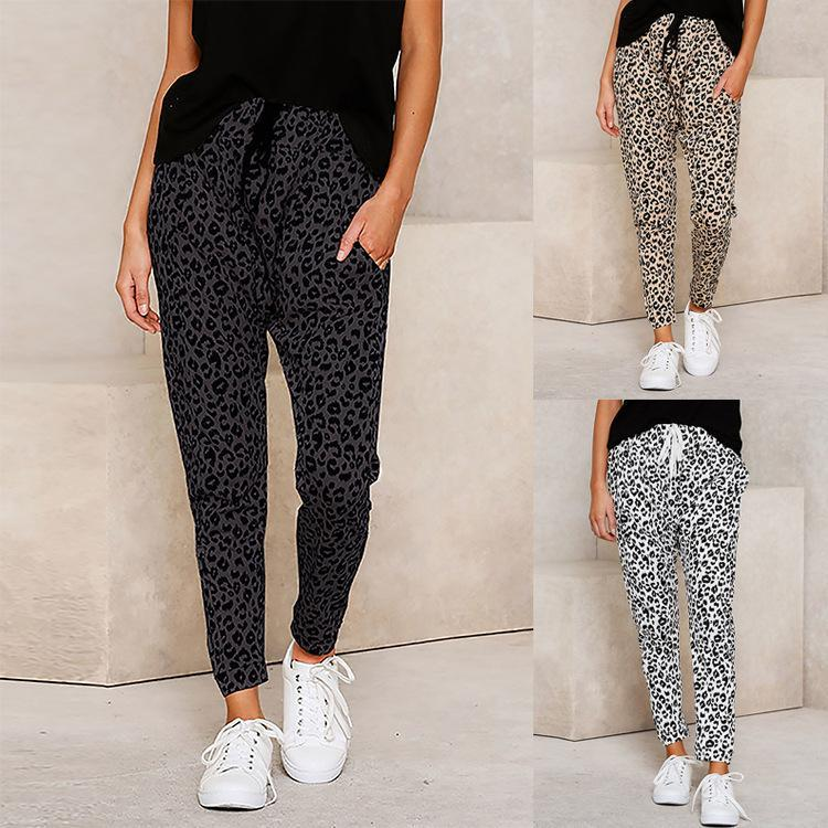 Pantalones de cintura elástica de leopardo de las mujeres Pantalones de calle de la cintura elástica ocasional Pantalones